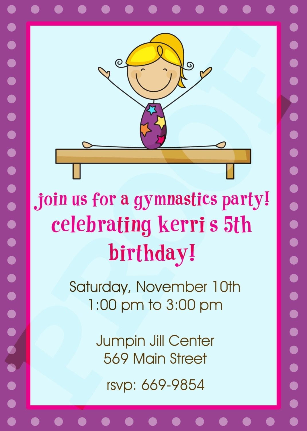 Gymnastics Party Gymnastics Invitation Gymnastics Birthday – Gymnastic Birthday Invitations