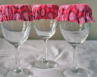 Reusable Wine Cup Glass Amy Butler Soul Blossom Pink Fabric