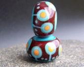 MruMru Handmade Lampwork Glass Bead Earring Pair. Dark red, Sra.