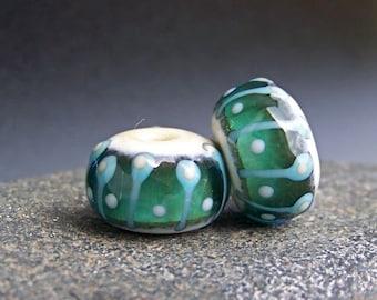 MruMru Handmade Lampwork Glass Bead Earring Pair. Teal, Sra.