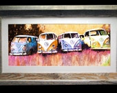 "Volkswagen Bus 23x13"" Barnwood Framed Art ""Purple Haze"" Signed and Numbered"