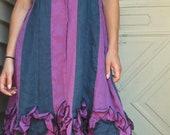 Indigo and Purple Striped Flower Bottom Dress M