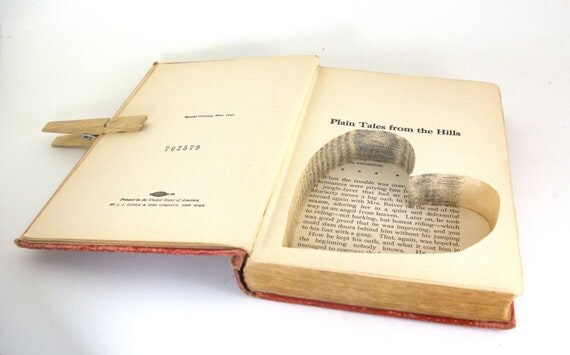 Wedding - Vintage Hollow Book Safe with Heart -   Plain Tales From the Hills