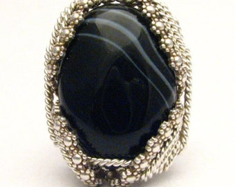 Handmade Sterling Silver Berry Wire Wrap Striped Onyx Ring