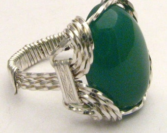 Handmade Sterling Silver Wire Wrap Green Onyx Ring