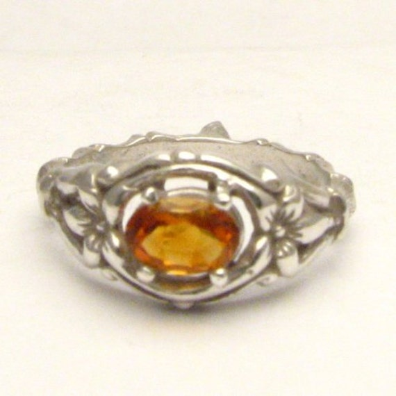 Handmade Sterling Silver Golden Citrine Bone Gemstone Ring