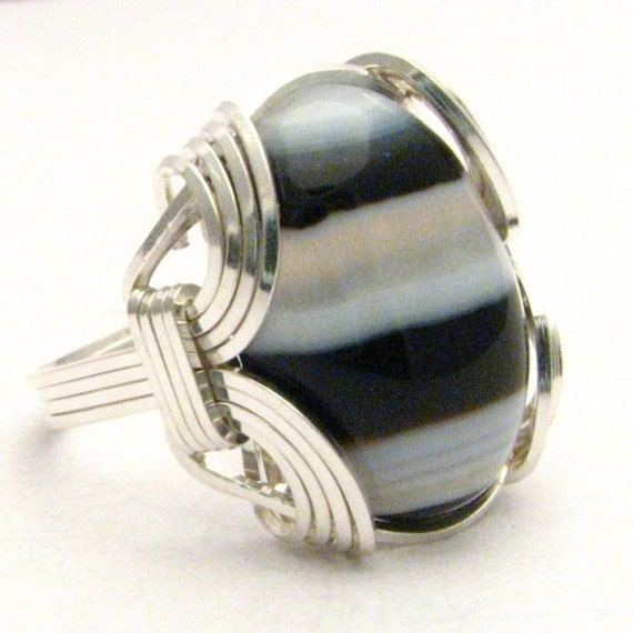 Handmade Sterling Silver Wire Wrap Black/White Onyx Ring