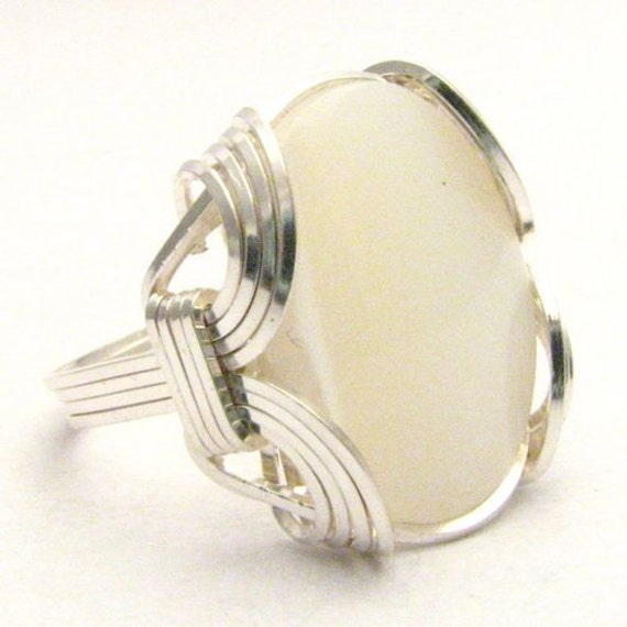 Handmade Sterling Silver Wire Wrap Mother of Pearl Ring