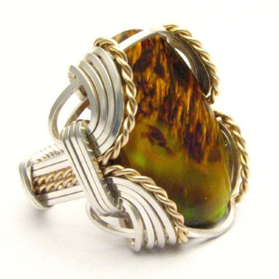 Handmade Wire Wrap Sterling Silver/14kt Gold Filled Yellow Paua Ring