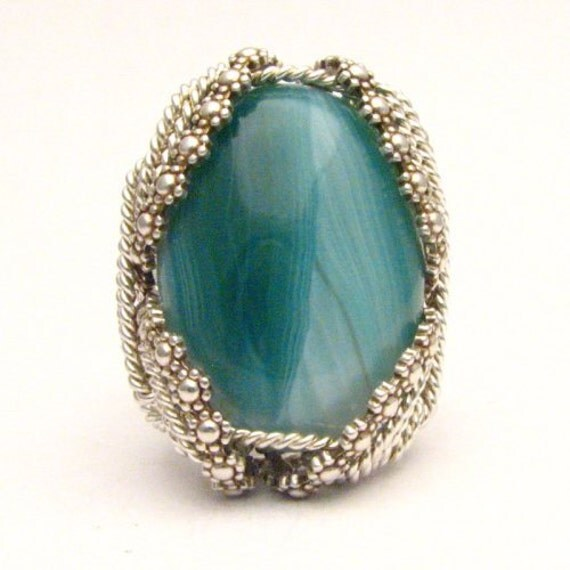 Handmade Artisan Sterling Silver Berry Wire Wrap Sardonyx Gemstone Ring