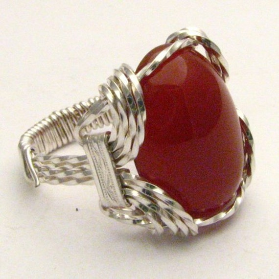 Wire Wrapped Ring Handmade Sterling Silver Wire Wrap Red Carnelian Cabochon Gemstone Statement Ring
