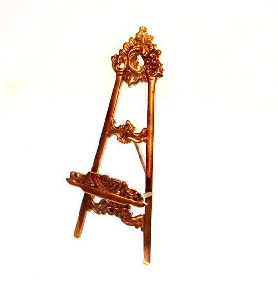 Vintage Brass Easel, Metal Frame, Art,  Photograph Stand Display