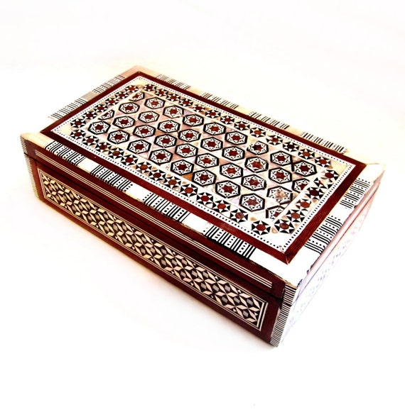 Vintage Jewelry Box, Wood, Mother of Pearl Shell  Inlay