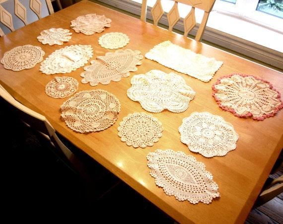 Vintage Crocheted Doilies, Doily Lot, 14 Estate Crochet