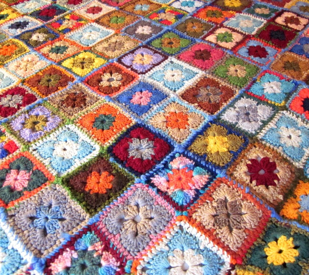 Vintage Afghan Blanket Granny Square Crochet Throw