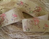 Reproduction Roses Hand Stamped Ribbon - Paris Address - Eiffel Tower Stamp - Bird On A  Branch