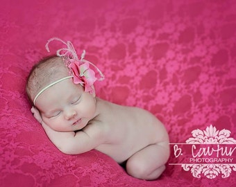 Vintage Baby Headbands,  Newborn Photography Prop Baby Headbands, Pink Headbands, Skinny Headbands, Hair Accessories For Girls, Hairbows