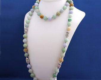 Natural Burmese Jadeite Jade Necklace, Unique Multi Strand Necklace, 12th Anniversary, Genuine Jade, Imperial Jade, Thai Hill Tribe Silver