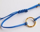 Friendship Bracelet Navy Blue Good Karma  Hammered Gold Plated Sterling Silver Macrame Knot