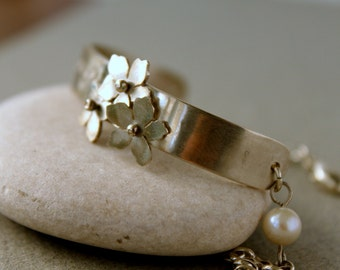 Inspirational Jewelry / Handstamped Personalized Cuff Half Bangle with Sakura Flowers and Pearl