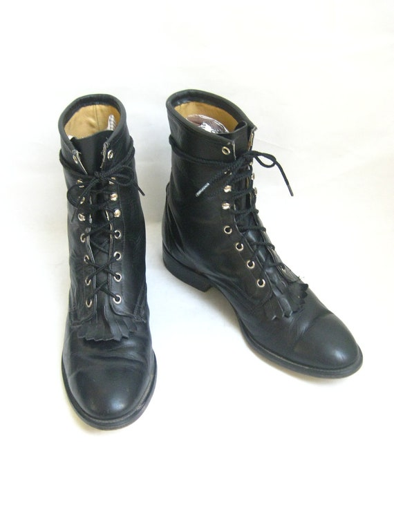 Vintage Laredo Black Leather Lace Up Roper Boots. Size 12 Mens