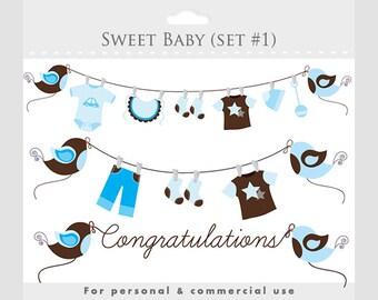 Baby clipart blue brown baby clip art pregnancy clip art nursery clipart sweet,birds baby clothes clothesline Congratulations digital