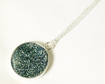 Green Druzy Pendant Titanium Green Necklace Green Statement Pendant Fine Druzy Necklace Silver Pendant Green Druzy Jewelry FD-P-105A-G/s
