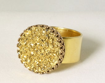 Druzy Ring Gold Ring Agate Titanium Cocktail Ring Crown Setting Adjustable Ring Fine Druzy Jewelry FD-R-103-G/g