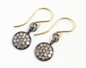 Pavé Diamond Earrings Diamond Earrings Disk Earrings Oxidized Silver Dangle Gold Silver Earwires Precious Diamond Earrings PD-E-104-os/g