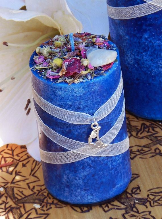 Blue Moon Celestial Lunar Alchemy Pillar Candle  2x3 . Full Moon Rites, Esbats, Evokation