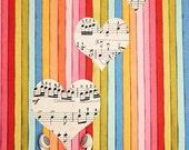 Music Heart Photograph Photo - Love, colorful, iheart, sheet music, ipod, apple, stripes - The Sound of Love - 8 x 10 Fine Art Print