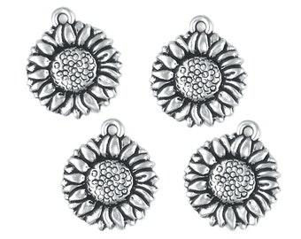 TierraCast SUNFLOWER CHARMS - Antique Silver Charms - Sun Flower Drop Tierra Cast Pewter  (P171)