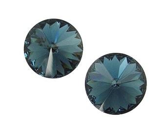 14mm MONTANA Rivolis Swarovski Rivoli Stones Article 1122 14mm Swarovski Crystal Dark Navy Blue