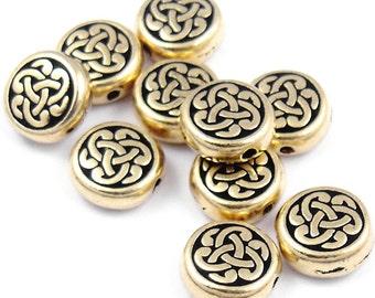 TierraCast CELTIC TRIAD Beads - Antique Gold Beads - 9mm Gold Celtic Beads Knotwork Knot Work Tierra Cast (P382)