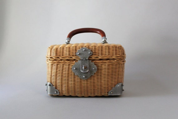 Vintage 50s Purse / 1950s Wicker Box Bag / 50s 60s Straw Bag