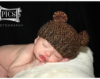 Newborn Baby Brown Bear Hat Knit Bear Hat Baby Hat Beanie Newborn Photo Prop - Soft Newborn Photo Prop baby boy hat baby girl hat