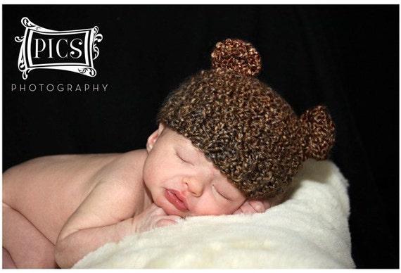 Newborn Baby Brown Bear Hat Knit Bear Hat Baby Hat Beanie Newborn Photo Prop - Soft Newborn Photo Prop baby boy hat baby girl hat