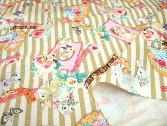 One Yard Japanese Cotton Kokka Fabric Bunny Rabbit Frame Stripes Ribbon