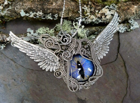 Steampunk Gothic Winged Victory Evil Eye Pendant Large