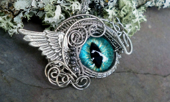 SOLD Steampunk Gothic Winged Cat Eye Pendant in Blue Green