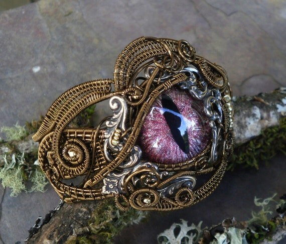 SOLD Gothic Steampunk Bronze Cat Evil Eye Bracelet 7 plus