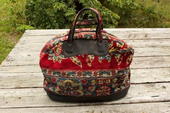 1960s Floral Carpet Bag