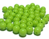 8mm Smooth Round Acrylic Beads in Key Lime 50 beads