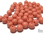 8mm Smooth Round Acrylic Beads in Dark Salmon/Blush color 50 beads