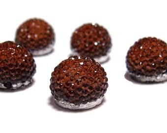13mm flatback ball cabochon resin rhinestone half bead in Brown topaz