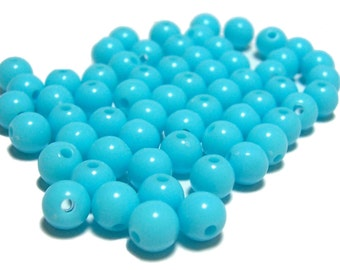6mm Smooth Round Acrylic Beads in Light Aqua 100pcs