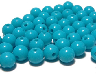 8mm Smooth Round Acrylic Beads in Turquoise 50 beads