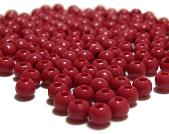 4mm Smooth Round Acrylic Beads in Dark Red 200 beads