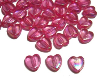 8mm Flat Heart Beads in Hot Pink 50pcs