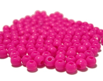 4mm Smooth Round Acrylic Beads in Hot Pink 200 beads